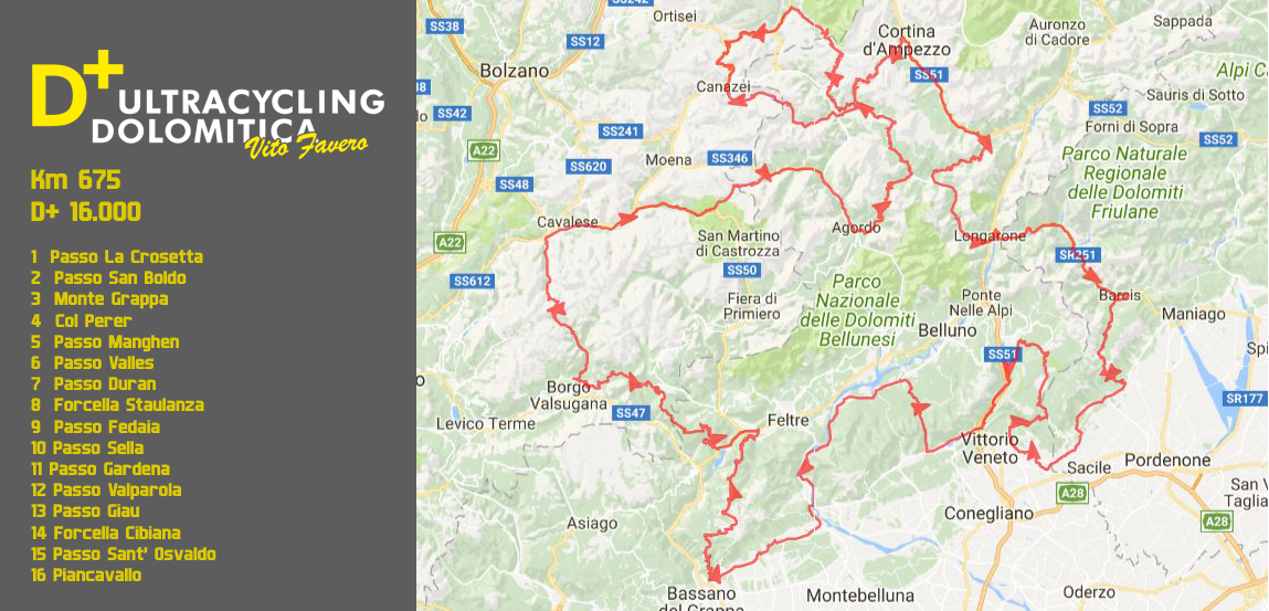 D+ Ultracycling Dolomitica 2018 map01