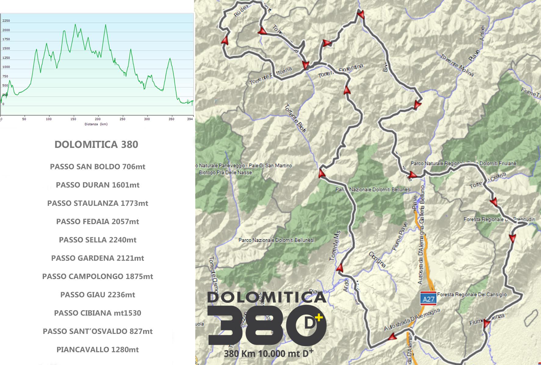percorso Dolomitica 380 2021